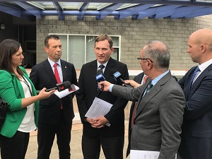 WSROC CEO and President speaking to the media outside the Parliamentary Inquiry into Road Tolls, 2017.