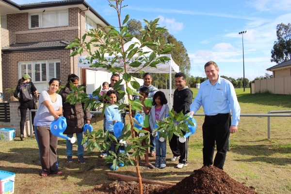 Mayor of Blacktown City, Councillor Stephen Bali at the Cool Streets tree planting event.