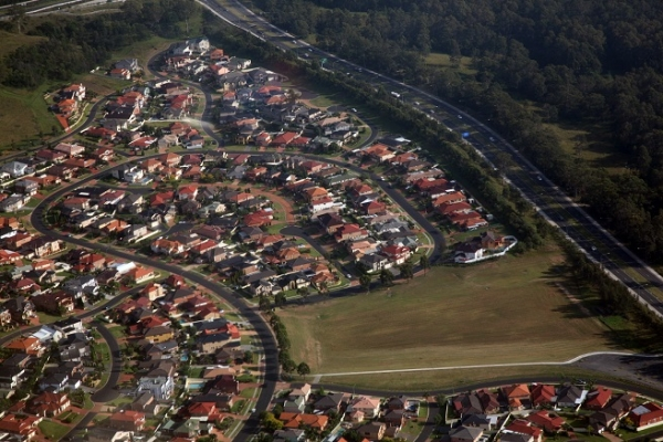 Aerial shot of Western Sydney housing estate.