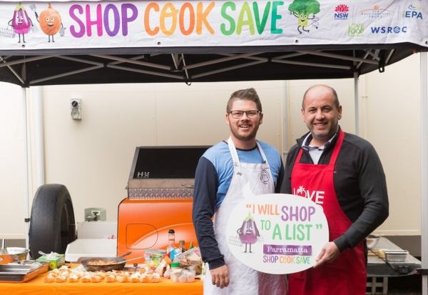 WSROC President, Cllr Tony Hadchiti and Masterchef finalist Jay Huxley at Parramatta North Public School for the first Shop Cook Save cooking demonstration.