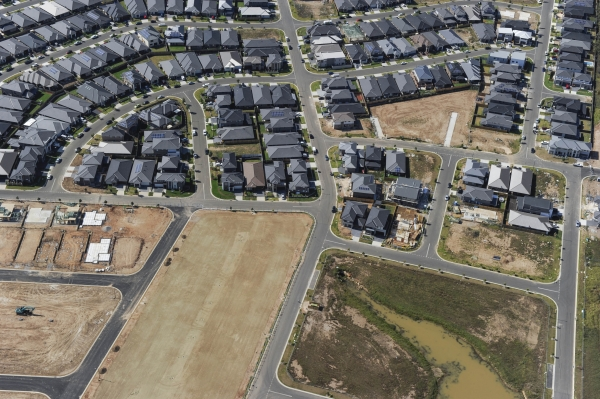 Aerial view of housing development