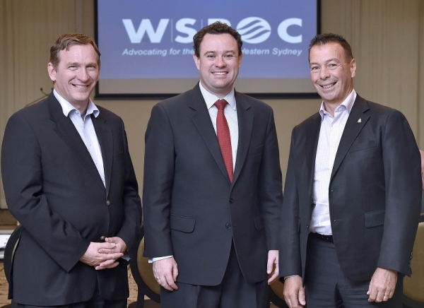 Left to right: WSROC Presdient Stephen Bali, Minister for Western Sydney, the Hon. Stuart Ayres MP, WSROC CEO Charles Casuscelli.