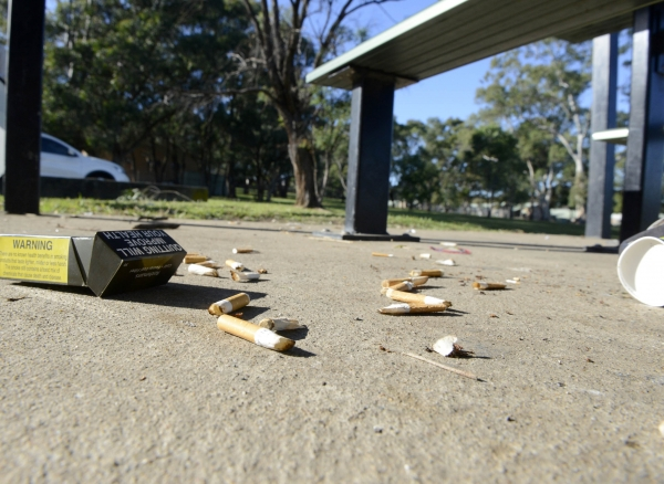 Cigarette litter in a public area.