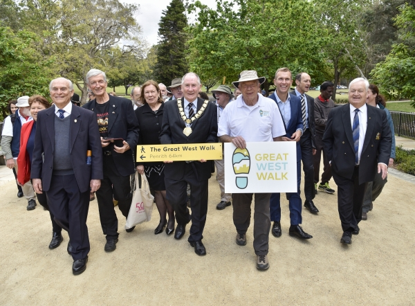 Launch of the Great West Walk. Left to right: Cr Karress Rhodes, WSROC Treasurer (Liverpool City Council); Cr George Campbell, WSROC Senior Vice President (Cumberland Council); Cr Phil Davies (City of Parramatta); Mrs Jenny Dwyer (City of Parramatta); Lord Mayor Bob Dwyer (City of Parramatta); Ian Napier, Convenor (The Walking Volunteers); NSW Minister for Planning and Public Spaces the Hon. Rob Stokes; Jacob Messer, Acting Executive Director (Parramatta Park and Western Sydney Parklands Trust); Mayor Tony Bleasdale (Blacktown City Council); Katie Littlejohn (NSW National Parks and Wildlife Serivces).