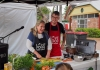 Hawkesbury Mayor, Cr Mary Lyons-Buckett, cooking with Shop.Cook.Save. chef, Jay Huxley, at Richmond Good Food Markets.