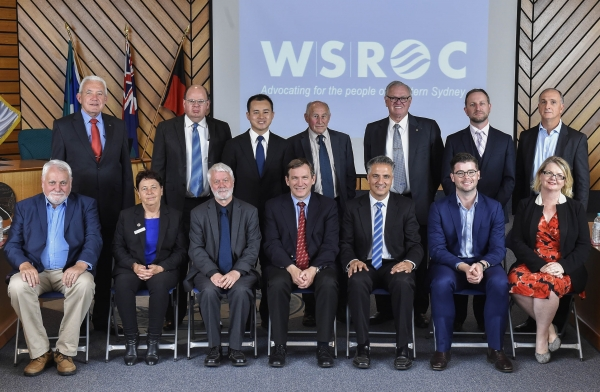 WSROC Board (left to right). Back row: Mr Viv May (Cumberland), Cr Geoff Shelton (alternate Director, Liverpool), Cr Adrian Wong (Fairfield), Cr Don McGregor (Blue Mountains), Cr Jim Aitken (Penrith), Cr Nathan Zamprogno (Hawkesbury), Mr Greg Dyer (Parramatta). Front row: Cr Barry Calvert (Hawkesbury), Cr Karress Rhodes (Liverpool), Cr Mick Fell (Blue Mountains), Cr Stephen Bali (Blacktown), Cr Frank Carbone (Fairfield), Cr Aaron Duke (Penrith), Ms Amanda Chadwick (Parramatta).