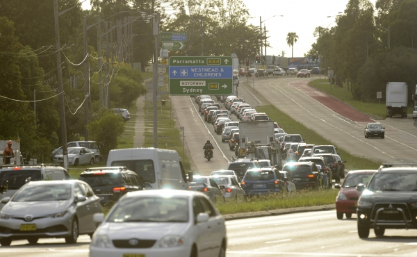 Western Sydney traffic heading east during early morning peak hour.