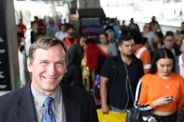 WSROC President Cr Stephen Bali at crowded rail station in Western Sydney