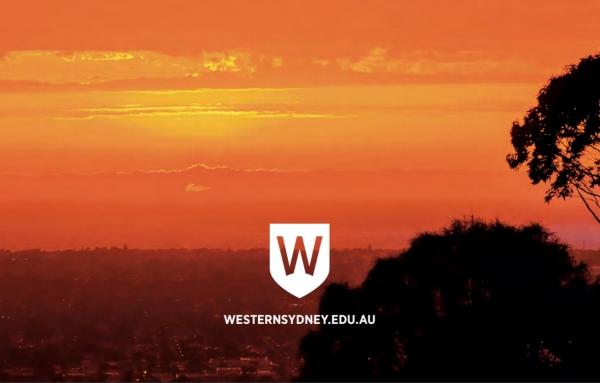 Summer sunset over Western Sydney, Western Sydney University Logo