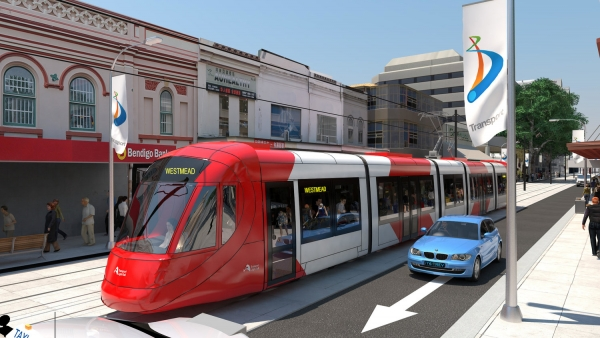 Proposed light rail travelling through Parramatta CBD