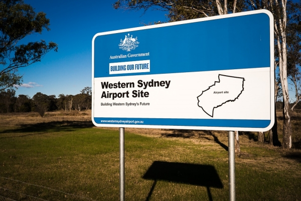 Western Sydney Airport sign at Badgerys Creek, Western Sydney.