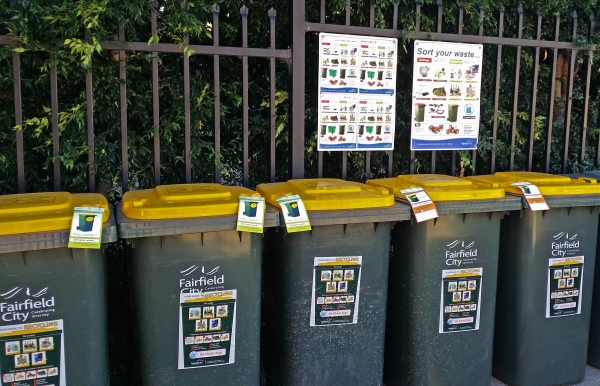 Recycling bins with new signage and tagging system
