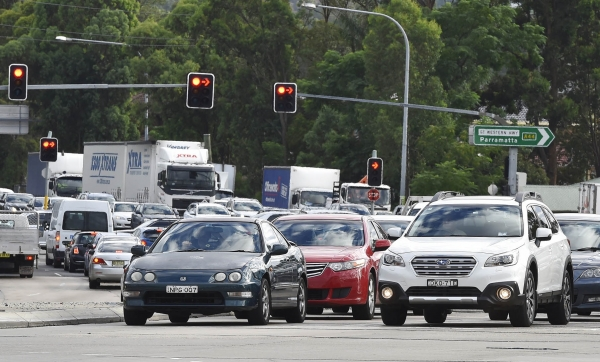 Traffic during peak hour in Western Sydney.
