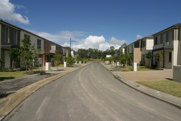 Local road in new housing estate.