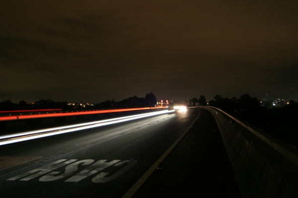 M4 motorway at night.