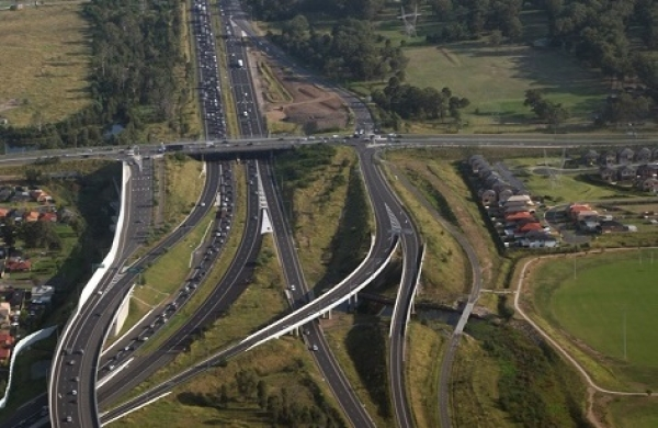 Aerial shot of Western Sydney motorways