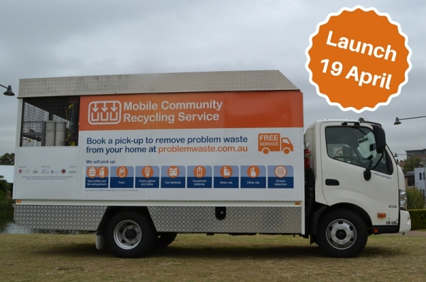 Mobile Community Recycling Service truck. A joint initiative between Auburn, Holroyd and Parramatta City Councils.