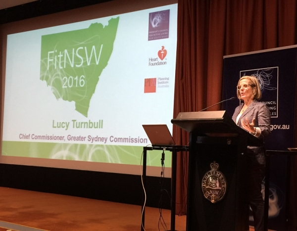 Chief Commissioner of the Greater Sydney Commission, Lucy Turnbull, presents at the FitNSW conference on March 9, 2016