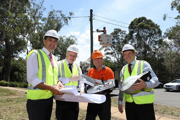 Left to right: Dr Geoff Lee, Member for Parramatta; Lord Mayor Andrew Wilson, City of Parramatta; Peter Wilson, Endeavour Energy; and WSROC President Cr Stephen Bali at site of LED light installation in City of Parramatta.