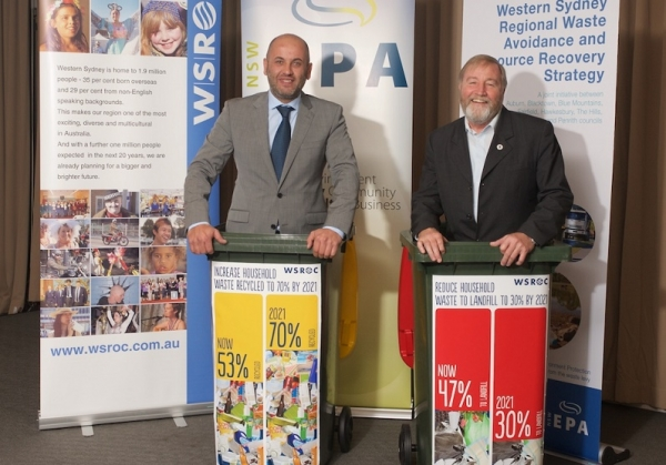 WSROC President Cllr Tony Hadchiti and Holroyd Mayor Greg Cummings at launch of Western Sydney Regional Waste Strategy